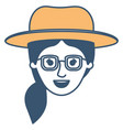 female face with hat and glasses and pigtail hair vector image