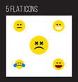 flat icon emoji set of displeased cold sweat vector image vector image