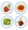 four types of food on round plates vector image vector image