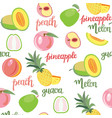 fruits peach guava melon pineapple seamless vector image vector image