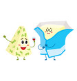 funny blue cheese and cream butter characters vector image