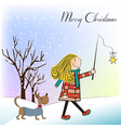 Funny girl and her dressed dog in a beautiful vector image vector image