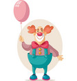 funny party clown holding pink balloon vector image