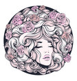 girl eyes closed long curly hair pink color with vector image