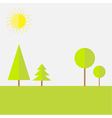 Green round and spruce tree landscape set Flat vector image vector image