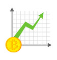 growth bitcoin graph growth of cryptocurrency vector image vector image