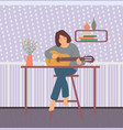 guitarist at home woman with guitar hob vector image vector image