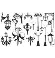 hand drawn doodle city street lantern set ink vector image vector image