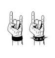 hand with rock and roll sign on white background vector image