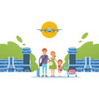 happy family together at airport travel people vector image vector image