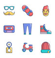 hipster environment icons set cartoon style vector image vector image