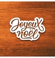 Joyeux Noel text on label Christmas greeting card vector image