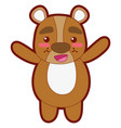 line color cute and cheerful bear wild animal vector image vector image
