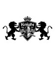 lions holding shield with knight and swords vector image