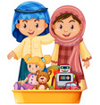 muslim kids and toys in tray vector image