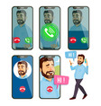 online call man face mobile smartphone vector image vector image