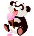 Panda eating ice cream vector image