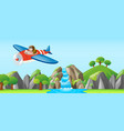 pilot flying jet over the waterfall vector image vector image
