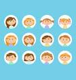 portrait view kids children stickers vector image vector image