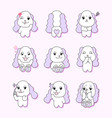 pretty dog character9 different actions vector image vector image