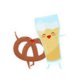 pretzel and glass of beer are friends forever vector image