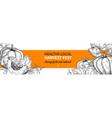 pumpkin banner hand drawn vintage harvest vector image