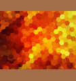 red background with mosaic flame hexagons vector image vector image