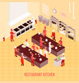 restaurant kitchen isometric composition vector image vector image