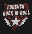 rock star with rose lettering print for card vector image vector image