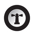 round black and white button - lighthouse icon vector image