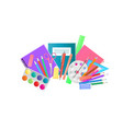 school supplies and art materials for drawing vector image vector image