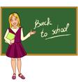 Schoolgirl at blackboard vector image vector image