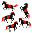 set black horses with red mane and tail vector image vector image
