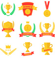 Set of winner champion labels and badges vector image