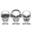 three human skulls in headphones virtual reality vector image vector image