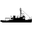 tugboat silhouette vector image vector image