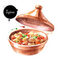 watercolor tajine painted isolated marrakech vector image
