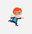 white boy with glasses runs alarmed vector image