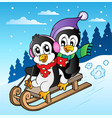 winter scene with penguins sledging vector image
