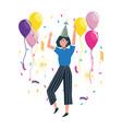 woman cartoon in a party design vector image