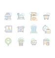 city elements color line icons set vector image