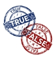 true blue and false red grunge round vintage vector image
