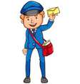 A coloured sketch of a postman vector image