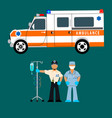 ambulance ambulance driver and a medical team vector image
