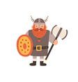 ancient scandinavian viking in helmet with horns vector image