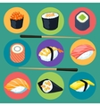 Asia food icon set with sushi rolls isolated vector image
