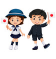 boy and girl holding japan flag vector image vector image