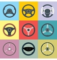 Car Steering Wheel Flat Icons Set vector image vector image