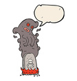 cartoon haunted grave with speech bubble vector image vector image