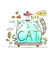 Cat and bird friends skateboarding watercolor hand vector image vector image